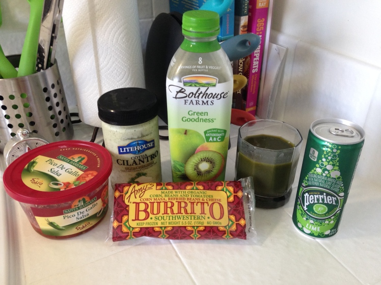 quick eats, healthy eating, healthy meals, healthy meal ideas, bolthouse farms green goodness, perrier, amys organic burrito, amys organic, amys southwest burrito