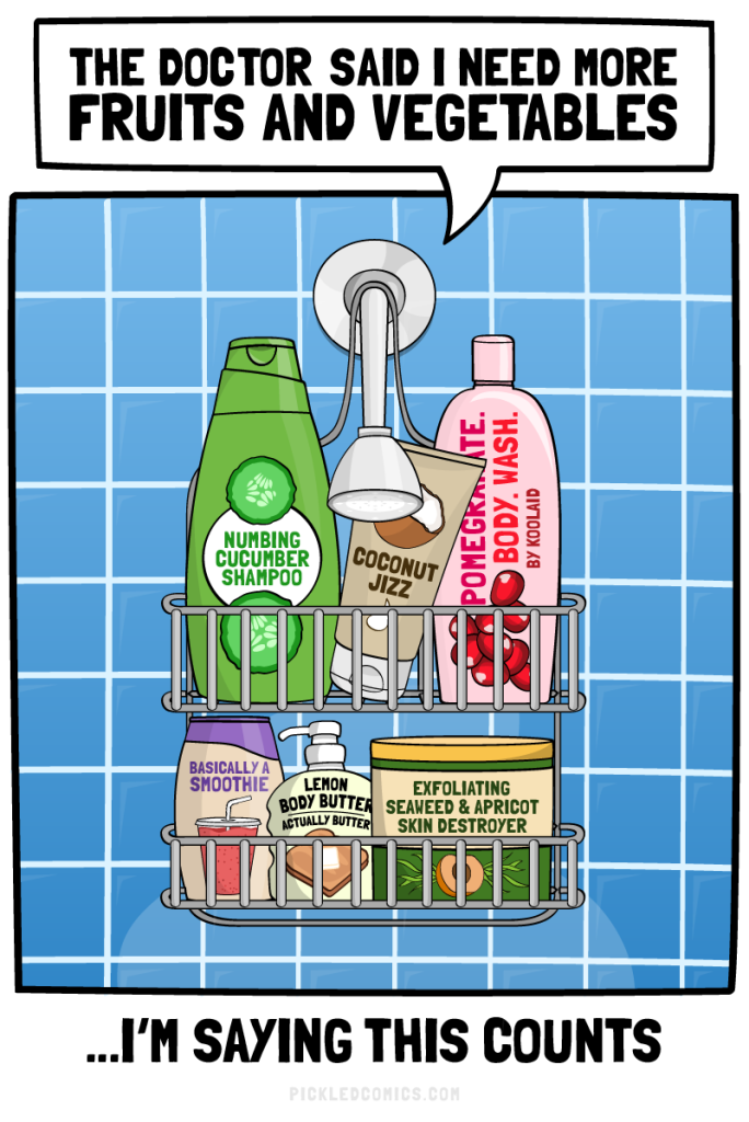 one full serving, pickled comics, pickled comics shower, shower comics, beauty blogger comics, beauty blogger humor, beauty humor, mike royer