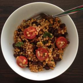 zesty quinoa salad, quinoa recipes, quinoa salad recipes, food blogs, food bloggers, recipe blogs, recipe bloggers, trader joes harvest grains blend, couscous salad recipes, couscous, recipe, couscous salad, healthy recipes, healthy salad recipes, healthy lunch ideas, healthy quinoa salad, cherry tomato recipes, black bean recipes, black beans, cilantro, cherry tomatoes